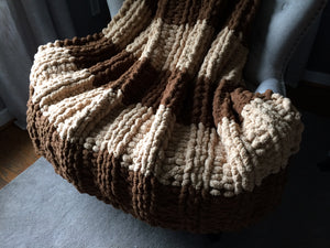 Brown and Beige Chunky Striped Throw