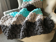 Load image into Gallery viewer, Chunky Knit Blanket | Aqua and Gray Striped Throw - Hands On For Homemade