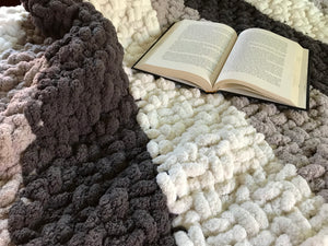Chunky Knit Blanket | Gray and Ivory Knit Throw - Hands On For Homemade