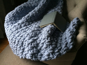 Chunky Knit Blanket | Light Blue Knit Throw - Hands On For Homemade