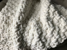 Load image into Gallery viewer, Chunky Knit Blanket | Soft Ivory Knit Throw - Hands On For Homemade