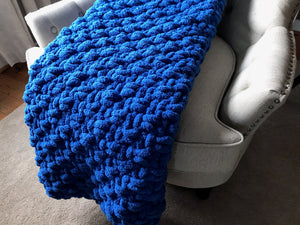 Chunky Knit Royal Blue Blanket
