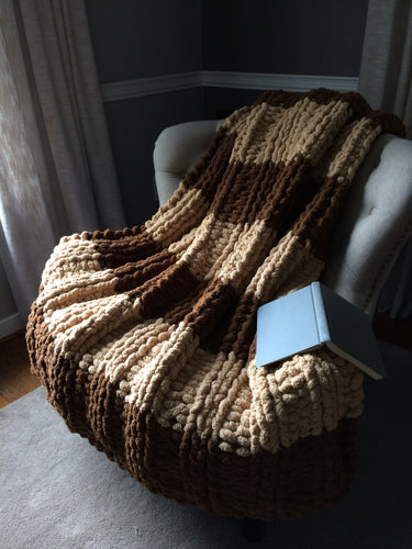 Chunky Knit Blanket | Brown and Beige Striped Afghan - Hands On For Homemade