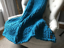 Load image into Gallery viewer, Chunky Knit Blanket | Teal Blue Couch Throw - Hands On For Homemade