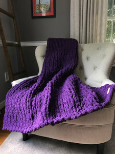 Chunky Knit Purple Throw