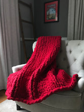 Load image into Gallery viewer, Chunky Knit Blanket | Red Knit Throw Blanket - Hands On For Homemade