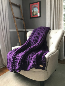 Chunky Knit Blanket | Purple Knit Throw Blanket - Hands On For Homemade