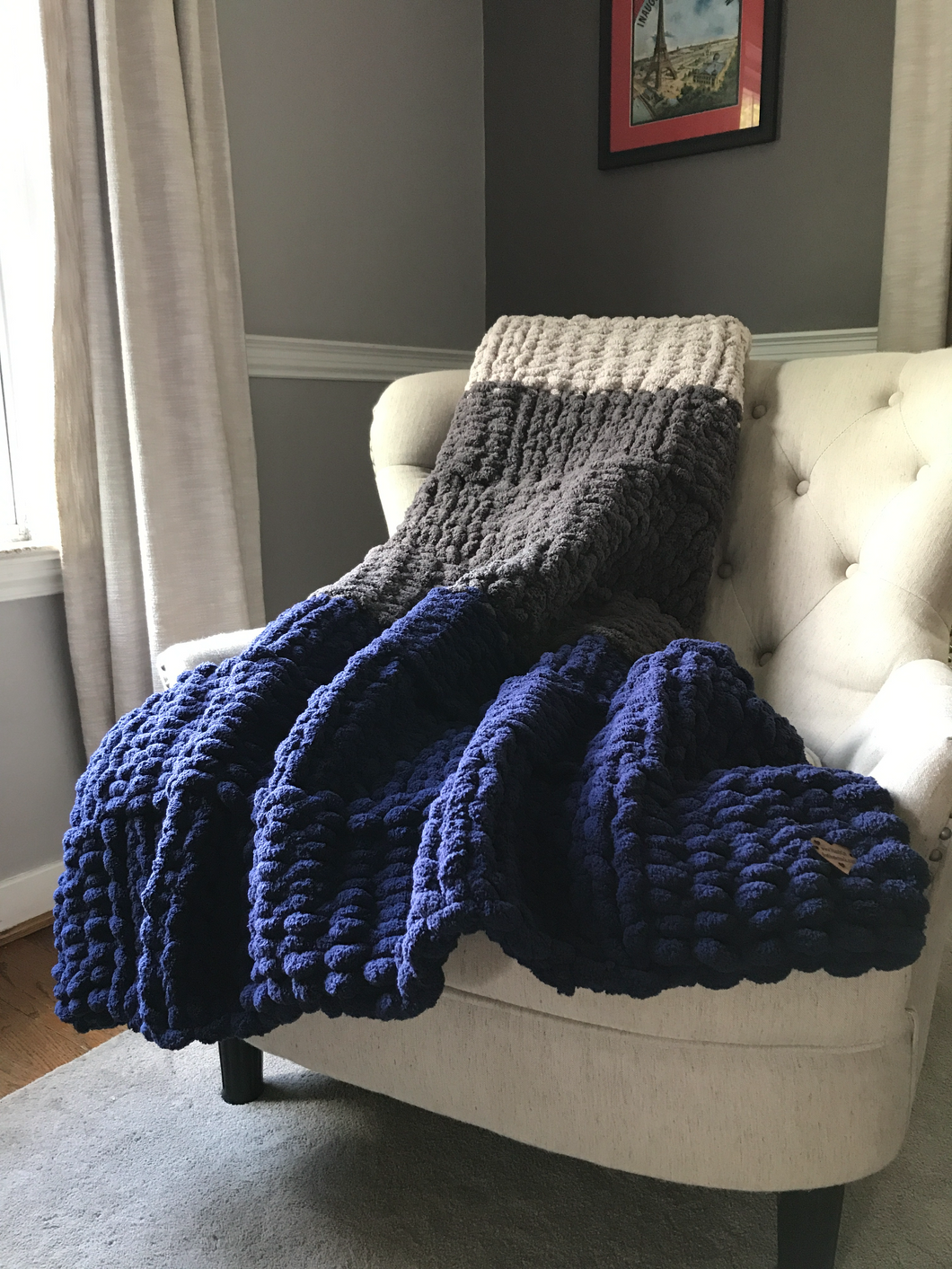 Chunky Knit Blanket | Navy and Gray Striped Throw - Hands On For Homemade
