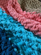 Load image into Gallery viewer, Chunky Knit Blanket | Teal Aqua Coral and Khaki Knit Throw - Hands On For Homemade