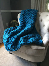 Load image into Gallery viewer, Chunky Knit Blanket | Teal Blue Knit Throw - Hands On For Homemade