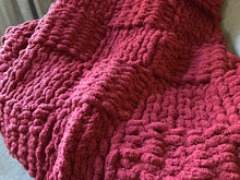 Load image into Gallery viewer, Chunky Knit Cranberry Red Blanket