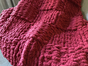 Chunky Knit Blanket | Cranberry Red Knit Throw - Hands On For Homemade