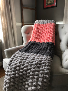 Chunky Knit Throw | Coral and Gray Striped Blanket - Hands On For Homemade