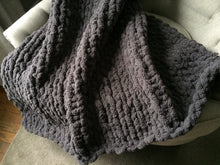 Load image into Gallery viewer, Chunky Knit Dark Gray Blanket