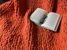 Load image into Gallery viewer, Chunky Knit Orange Blanket