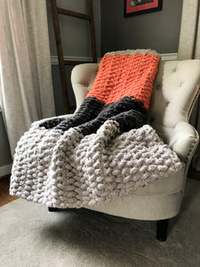 Chunky Knit Blanket | Gray and Orange Striped Throw - Hands On For Homemade