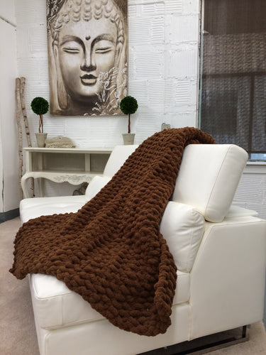 Chunky Knit Blanket | Brown Knit Throw Blanket - Hands On For Homemade