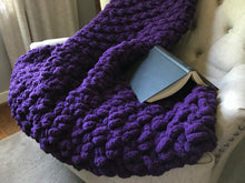 Load image into Gallery viewer, Chunky Knit Purple Blanket