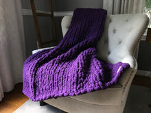 Load image into Gallery viewer, Chunky Knit Purple Throw