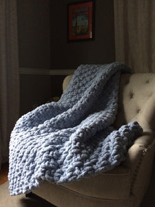 Chunky Powder Blue Blanket - Hands On For Homemade