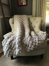 Load image into Gallery viewer, Chunky Knit Throw Blanket | Light Gray Knit Throw - Hands On For Homemade