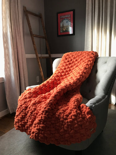 Chunky Knit Orange Throw
