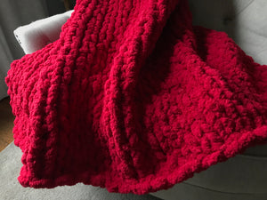 Chunky Knit Blanket | Red Knit Throw Blanket - Hands On For Homemade
