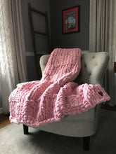 Load image into Gallery viewer, Chunky Knit Blanket | Light Pink Knit Throw - Hands On For Homemade