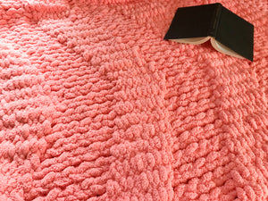 Coral Chunky Knit Throw - Hands On For Homemade