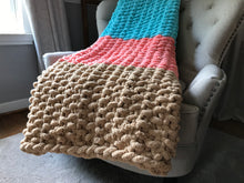 Load image into Gallery viewer, Teal Aqua Coral and Khaki Chunky Blanket