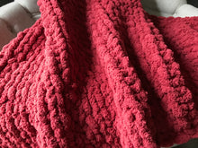 Load image into Gallery viewer, Chunky Knit Blanket | Cranberry Knit Couch Throw - Hands On For Homemade