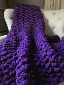 Purple Knit Blanket - Hands On For Homemade