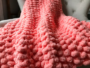 Chunky Knit Blanket: Throw Size | Coral Knit Throw Blanket - Hands On For Homemade
