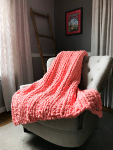Chunky Knit Coral Throw