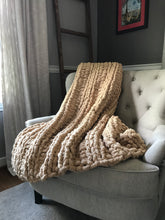 Load image into Gallery viewer, Chunky Knit Blanket | Khaki Knit Throw Blanket - Hands On For Homemade