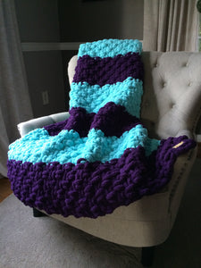Chunky Knit Blanket | Purple and Aqua Knit Throw - Hands On For Homemade