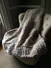 Load image into Gallery viewer, Chunky Knit Throw Blanket | Soft Light Gray Blanket - Hands On For Homemade