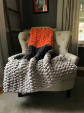 Load image into Gallery viewer, Chunky Knit Blanket | Gray and Orange Striped Throw - Hands On For Homemade