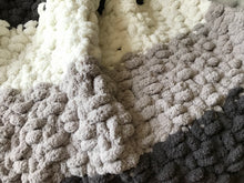 Load image into Gallery viewer, Chunky Knit Blanket | Gray and Ivory Knit Throw - Hands On For Homemade