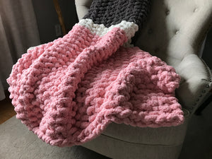 Custom Listing for Shila: Chunky Knit Blanket | Gray and Pink Striped Throw Blanket - Hands On For Homemade