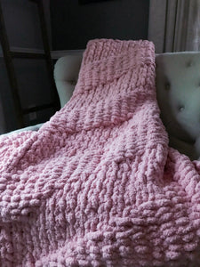 Soft Pink Knit Throw Blanket - Hands On For Homemade