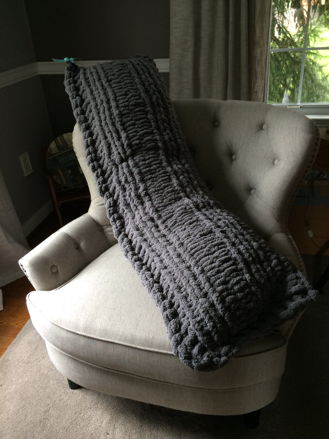Chunky Knit Charcoal Body Pillow