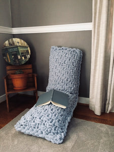 Chunky Knit Powder Blue Body Pillow