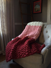 Load image into Gallery viewer, Chunky Knit Throw Blanket | Red Pink and White Knit Throw - Hands On For Homemade