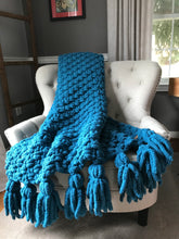 Load image into Gallery viewer, Chunky Knit Blanket | Teal Blue Tassel Throw Blanket - Hands On For Homemade