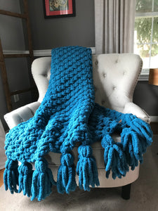 Chunky Knit Blanket | Teal Blue Tassel Throw Blanket - Hands On For Homemade