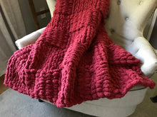 Load image into Gallery viewer, Chunky Knit Blanket | Cranberry Red Knit Throw - Hands On For Homemade