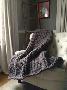 Chunky Knit Blanket | Dark Gray Knit Throw - Hands On For Homemade