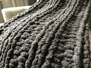 Chunky Knit Blanket: Mini Throw | Gray Knit Throw Blanket - Hands On For Homemade