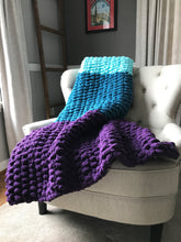 Load image into Gallery viewer, Chunky Knit Blanket | Purple Teal Blue and Aqua Knit Throw - Hands On For Homemade